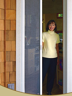 Retractable roll screens demo corner for Single french door with screen